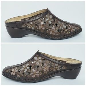 Pikolinos Leather Floral Cutout Mules, Size 7 (37)